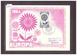 "NORVEGE - EUROPA CEPT 1964 - CARTE MAXIMUM  ""PEN"" - TIRAGE LIMITE A 1000 Ex.  - TB - 1964"