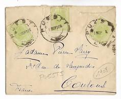 Roumanie POESTI Grand Cachet à Date POESTI-1908 Sur 3 Timbres 5 Bani Pour TOULOUSE  ...G - Poststempel (Marcophilie)