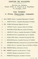 Liste Electorale Canton De Vouziers  08 Liste Socialiste  24 11 1946 Vrizy Vandy Chestre Grivy Mars Sous Bourcq - Documents Historiques