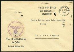 DT.REICH 1939, UNFRANK BR, MAS-STPL DARMSTADT UND VIGNETTE STATTHALTER IN HESSEN - Allemagne
