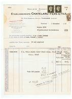 FACTURE S. A . ETABLISSEMENT  CHATELARD PERE & FILS à TARARE (RHONE) Pour LYON 1946 - Textile & Vestimentaire