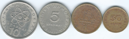 Greece - 50 Lepta - 1979 (KM115) 1 - 1980 (KM116) 5 - 1976 (KM118) & 10 Drachmai - 1976 (KM119) - Grecia