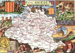 CPSM Grand Format J P Pinchon N°9 ARIEGE Plan + Multivues RVBlondel La Rougerie  Paris 1945 - Francia