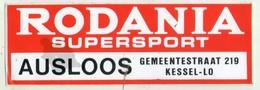 AUTOCOLLANT . STICKER . RODANIA SUPERSPORT . AUSLOOS . GEMEENTESTRAAT 219 . KESSEL-LO - Pegatinas