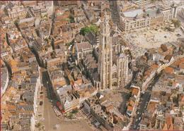 Grote Kaart Grand Format Antwerpen 1993 (vlaggen) Luchtopname Panorama Oude Stad Kathedraal Groenplaats - Antwerpen