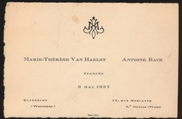 MARIE TH VAN HAEST (WETTEREN )   9 MAI 1937  ANTOINE BACK  ( ST NICOLAS ) FIANSES   14 X 9 CM - Engagement