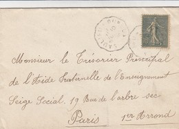 LETTRE. SEMEUSE 15c.  AMBULANT SAULIEU A OUROUX POUR PARIS - Marcophilie (Lettres)