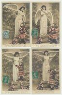 Série De 5 Cartes Fantaisie- Femme Ange Et Petite Fille - Anges