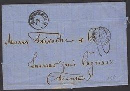 SUEDE : Pli De 1867 En Port Du Avec CàDate De STOKHOLM 18/5 1867 + Entrée SUEDE AMB. ERQUELINES A - Marcophilie (Lettres)