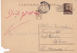 ITALIA -  MILANO - R.S.I. - INTERO POSTALE  C. 30 - GIUSEPPE MAZZINI - VIAGGIATO PER MILANO - 4. 1944-45 Repubblica Sociale