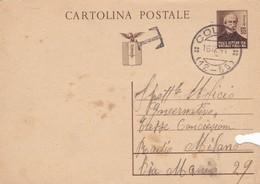 ITALIA -  COLLIO (BS) - R.S.I. - INTERO POSTALE  C. 30 - GIUSEPPE MAZZINI - VIAGGIATO PER MILANO - 4. 1944-45 Repubblica Sociale