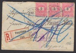 HONGRIE : Enveloppe RECOMMANDEE 1896 Avec Affrt 5Kr X3 Oblt FENYÖHAZA Pour NOERISCHOFEN Bavière - Lettres & Documents
