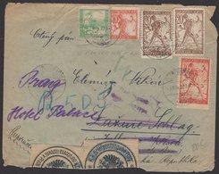 YOUGOSLAVIE : Enveloppe RECOMMANDEE De 1920 Afrt 5 Timbres Pour La Thécoslovaquie + Sensure. - 1919-1929 Kingdom Of Serbs, Croats And Slovenes