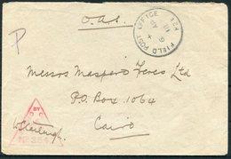 1918 GB Field Post Office H21 Sarona Palestine O.A.S. Censor Cover - Cairo Egypt. 21 Corp HQ. WW1 F.P.O. - 1902-1951 (Re)