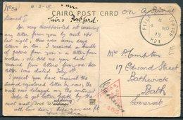 1918 GB Field Post Office H21 Jaffa Palestine O.A.S. Censor Postcard - Bathwick Bath. 21 Corp HQ. WW1 F.P.O. - 1902-1951 (Re)