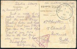 1917 GB Field Post Office H21 Bir Salem, Palestine Censor Postcard - Bathwick Bath. 21 Corp HQ. WW1 F.P.O. - 1902-1951 (Re)