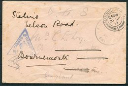 1917 GB Field Post Office GM1 O.A.S. Censor Cover - Manningtree. Kalen Near Khan Yunis (Sinai?) - 1902-1951 (Re)