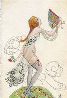 Illustrateur Semblant Signer MS à Identifier - Femme Nue,  Eventaill - Semble Etre Copie De Brunelleschi - Rare - Illustrateurs & Photographes