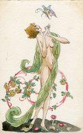 Illustrateur Semblant Signer MS à Identifier - Femme Nue Papillon - Semble être Copie De Brunelleschi - Rare - Künstlerkarten