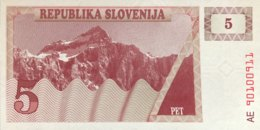 Slovenia 5 Tolarjev, P-3 (1990) - UNC - Slovénie