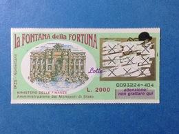 ITALIA LOTTERIA ISTANTANEA GRATTA E VINCI USATO L. 2000 LA FONTANA DELLA FORTUNA - Lottery Tickets