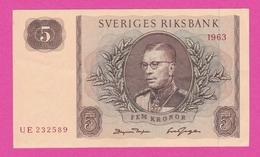 SUEDE  Billet  5 Kronor 1963  Pick 50b  UNC - Suède