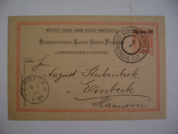 TURKEY - POST TICKET SENT FROM CONSTANTINOPLE TO EINBECK (GERMANY) IN 1899 IN THE STATE - Levant Autrichien