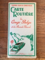 1957 - Carte Routière CONGO BELGE Et RUANDA URUNDI - Touring Club Du Congo Belge - Patesson - Lijst Plaatsen, Hotels,... - Callejero