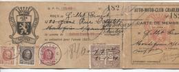 REF932/ TP 192-196-202 Albert Houyoux S/Carte De Membre Auto Moto Club + TP Fiscaux 22/12/24 C.Couillet 1925 - Brieven En Documenten