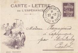 Carte-Lettre De L'Espérance /  Franchise Militaire / Cachet Convoyeurs-Lignes USSEL à CLERMONT-FERRRAND. - Franchise Militaire (timbres)