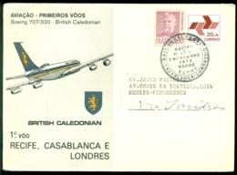 Brasil 1972 First Flight Boeing 707/320 British Caledonian Recife - Casablanca And London - Posta Aerea