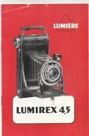 PHOTOGRAPHIE .LUMIREX 4.5 . MANUEL UTILISATION - Publicités