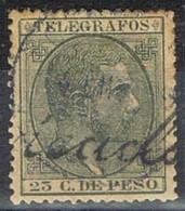 Sello 25 Ctvos Telegrafos FILIPINAS Colonia Española 1880, Num 4 º - Filipinas
