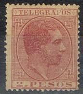 Sello 2 Pesos Telegrafos FILIPINAS Colonia Española 1886, Num 20 * - Filipinas
