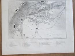 Gravure  1874  Espagne Guerre Civile PLAN DE BILBAO - Stiche & Gravuren