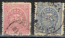 Sellos 1 Ctvo Y 2 4/8 Telegrafos FILIPINAS Colonia Española 1892, Num 37-38 º - Filipinas