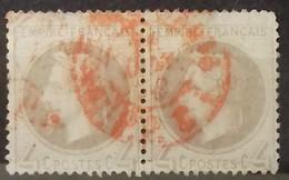 N° 27 B 4 Ct Gris COTE 340 € PAIRE OBLITEREE PAR LE CACHET ROUGE DES IMPRIMES - 1863-1870 Napoleon III With Laurels