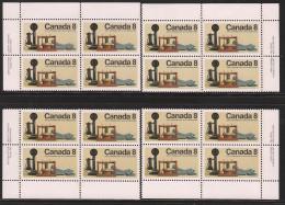 CANADA 1974 SCOTT 641**  4 PLATE BLOCK SET - Blocks & Sheetlets