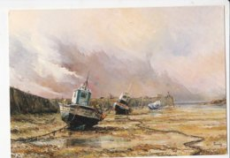 PERNES Michel Repos Provisoire, Huile Au Couteau, Chalutiers Au Port à Marée Basse MONTBRAY, SANTENAY - Peintures & Tableaux