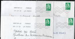 France - Timbre  L'Engagée Sur 4 Lettres Avec Variété De Centrage, Découpe, Date, N° - Pour étude - Storia Postale