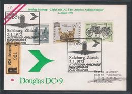AUA Eröffnungsflug Erstflug Reco 2.1.1972 Salzburg-Zürich ANK 293 - AUA-Erstflüge