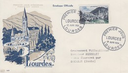 Enveloppe  FDC  1er  Jour   FRANCE    LOURDES   1954 - 1950-1959