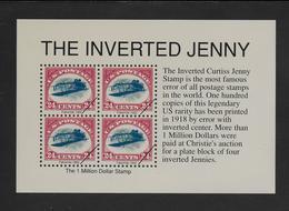 """ETATS-UNIS 1992 REIMPRESSION DU """"JENNY"""" INVERSE DE 1918 - Blocks & Sheetlets"""