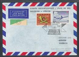 AUA Europa Grußflugpost 15.7.1973 Salzburg-Zürich ANK 306 - AUA-Erstflüge