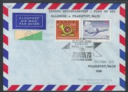 AUA Europa Grußflugpost 15.7.1973 Salzburg-Frankfurt ANK 307 - AUA-Erstflüge