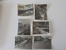1950 Lot 6 Photos Originales Noir Blanc Tram Tramway STIB  MIVB Travaux Boulevards Bruxelles Expo 58 - Bruselas (Ciudad)