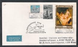 AUA Grußpost 27.11.1975 Budapest-Wien ANK 329 - AUA-Erstflüge