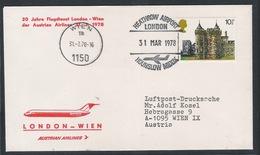 AUA Grußpost Luftpost 31.3.1978 London-Wien ANK 0352 - AUA-Erstflüge