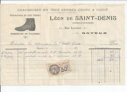 BAYEUX Rue Larcher  LEON DE SAINT DENIS  Cordonnier  Facture Envoyee A L'HOTEL DIEU DE BAYEUX 1932 - France