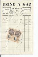 BAYEUX   USINE A GAZ    Facture Envoyee A L'HOTEL DIEU DE BAYEUX 1931 - France